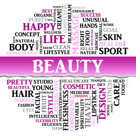 spa collage: Beauty concept related words in tag round cloud with different association sport and fitness terms. The effect of torn paper. Vector Illustration