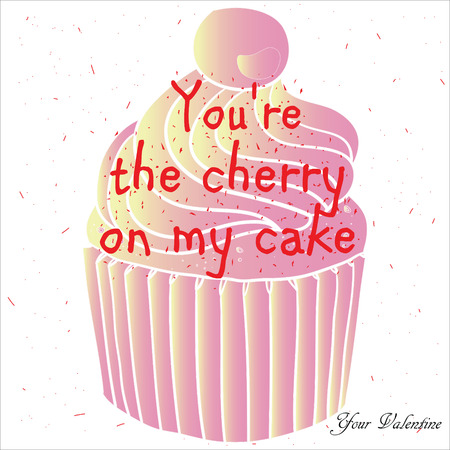melt: Illustration of multi-colored cupcake with the words Sweet Valentines Day. Vector graphics. Congratulations on the background color of the paper. For greeting cards, banners, advertising