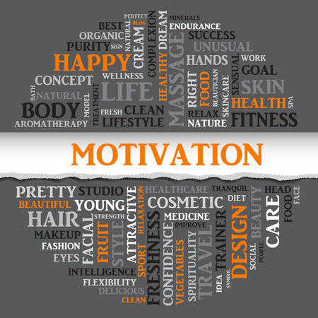 spa collage: SPORT motivation concept related words in tag round cloud with different association sport and fitness terms. The effect of torn paper. Vector Illustration