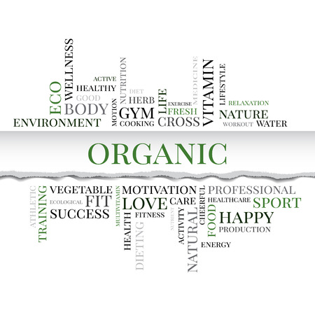multivitamin: Organic concept related words in tag cloud with different association organic and healthy terms. The effect of torn paper. Vector Illustration
