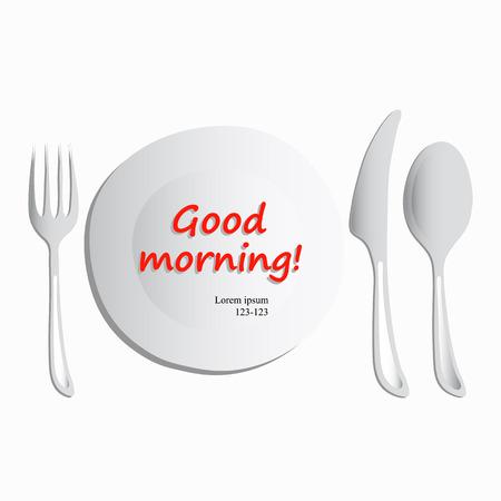 plato del buen comer: Ilustraci�n del vector, conjunto de utensilios que consisten en un plato, cuchara, tenedor y un cuchillo sobre un fondo blanco. Buenos d�as concepto isom�trica del vector. Servicio de comida. Dibujo a mano alzada. Para restaurantes, cafeter�as