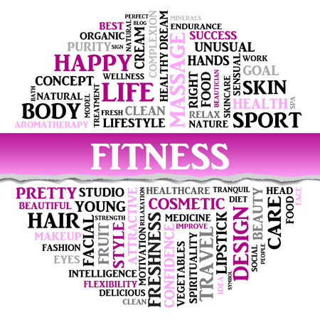 spa collage: Fitness concept related words in tag round cloud with different association sport and fitness terms. The effect of torn paper. Vector