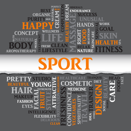 spa collage: SPORT concept related words in tag round cloud with different association sport and fitness terms. The effect of torn paper. Vector Illustration