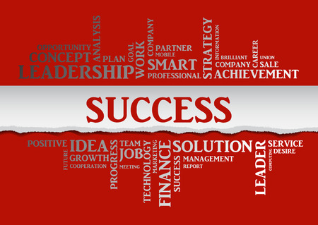 smart goals: Business success concept related words in tag cloud isolated with different association business terms. The effect of torn paper. Vector Illustration