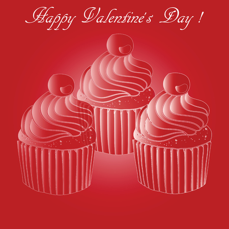 cream paper: Illustration of three red cupcakes with cherries and cream paper cups on a red background with a greeting Happy Valentines Day.  For greeting cards and backgrounds Illustration