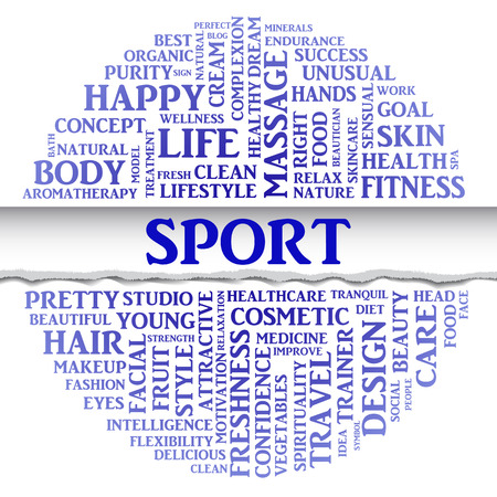 sexual health: SPORT concept related words in tag round cloud with different association sport and fitness terms. The effect of torn paper. Vector Illustration