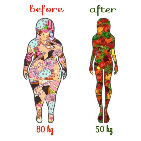 malos habitos: estilo de vida saludable y los malos hábitos. Grasa o delgada. silueta femenina con verduras. Ilustración de un estilo de vida saludable. Vector