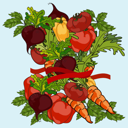 tied up: Group of vegetables tied up with measuring tape. Vector Illustration