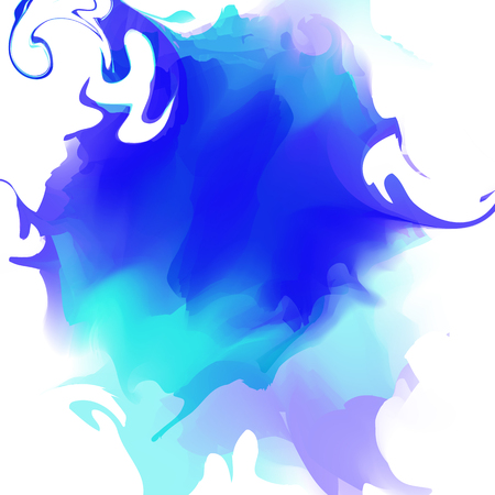 spatters: Colorful abstract watercolor stain with splashes and spatters isolated on white background. Hand painted background. Vector Illustration