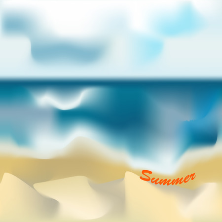 seascape: Creative seascape for your design. Beautiful beach with the text.Vector Illustration.