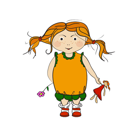 small girl: Vector illustration of a little girl, a child in dress