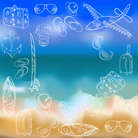 seascape: Vector hand-drawn icons, vacation summer, background seascape. Illustration