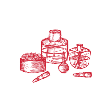 ollection: Hand drawn collection of make up, cosmetics set. Hand drawn collection of products for makeup.  Vector sketch