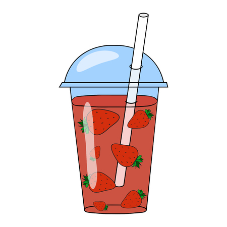 blended: Strawberry smoothie in a glass. Vector hand drawn illustration. Making a healthy smoothie.