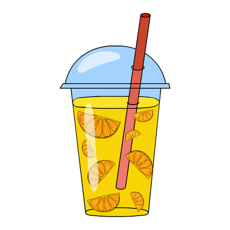 blended: Orange smoothie in a glass. Vector hand drawn illustration. Making a healthy smoothie.