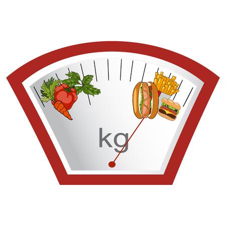 Het concept van gewichtsverlies, gezonde en ongezonde voeding. Pijl gewichten op groenten of fast food. Kiezen. Vector. Hand getekend