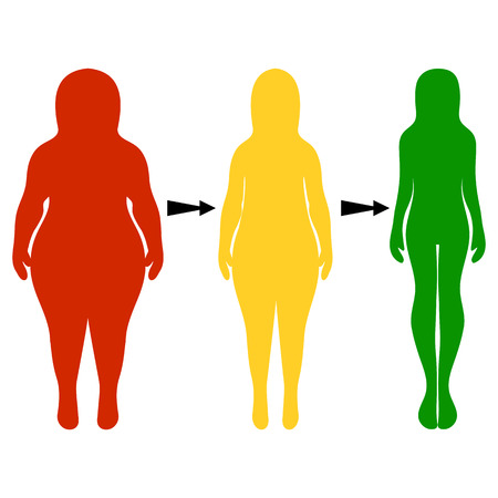 Silhouettes of women thick and thin. The concept of a healthy lifestyle and unhealthy eating habits. Vector illustration, hand drawn