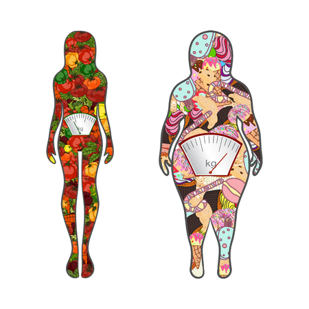 Vector. Hand drawn. Silhouettes of women thin and thick with vegetables and fast food. The concept of weight loss. Healthy and unhealthy food.