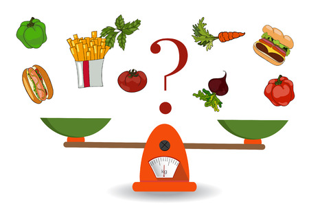 The concept of weight loss, healthy lifestyles, diet, proper nutrition. Vegetables and fast food on scales. Vector. Hand drawn Illustration