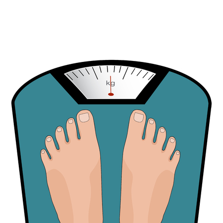 Concept of weight loss, healthy lifestyles, diet, proper nutrition. Vector feet on the scale. Illustration