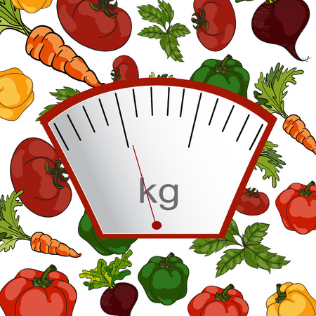 proper: Vector. Hand-painted. The concept of weight loss, healthy lifestyles, diet, proper nutrition. Vegetable and scales. Illustration