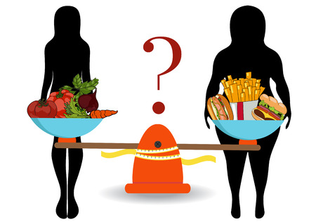 slim woman: Silhouettes of women thin and thick with vegetables and fast food. The concept of weight loss. Healthy and unhealthy food. Vector. Hand drawn