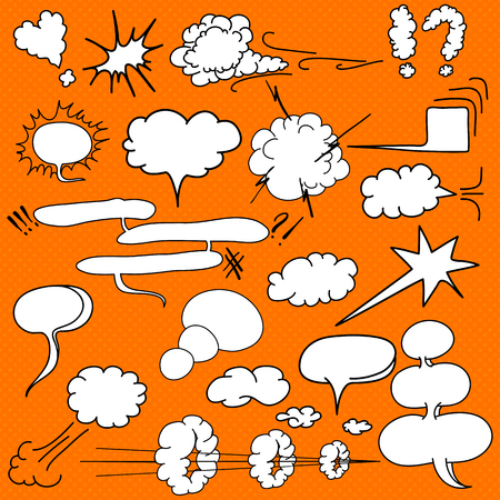 Comic blank text speech clouds in pop art style, set, hand drawn, vector illustration