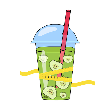 proper: The concept of weight loss, healthy lifestyles, diet, proper nutrition. Fruit and scales. Vector. Hand-drawn smoothies and skales Illustration