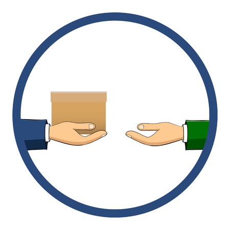transfers: The hand that holds the box, gift, transfers it to another person. Flat style.  Hand-drawn. The concept of delivery, victory, holiday, birthday, engagement, wedding.  Vector
