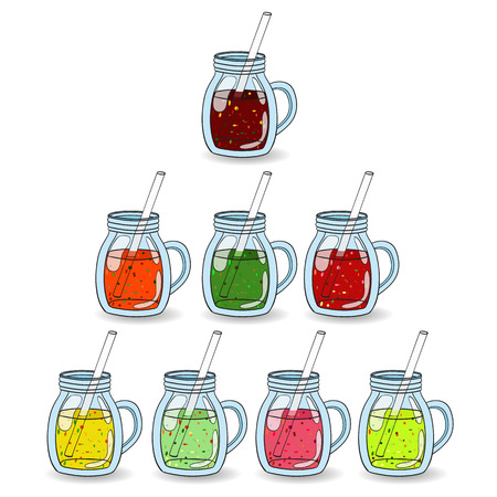 proper: Set of smoothies, juices with different flavors: fruit and vegetable. The concept of a healthy lifestyle, proper nutrition, summer, fun. The logo, a banner for a cafe. Vector Hand painted