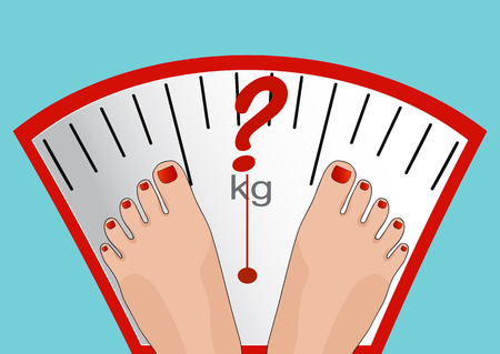 proper: Concept of weight loss, healthy lifestyles, diet, proper nutrition. Vector feet on the scale. Illustration