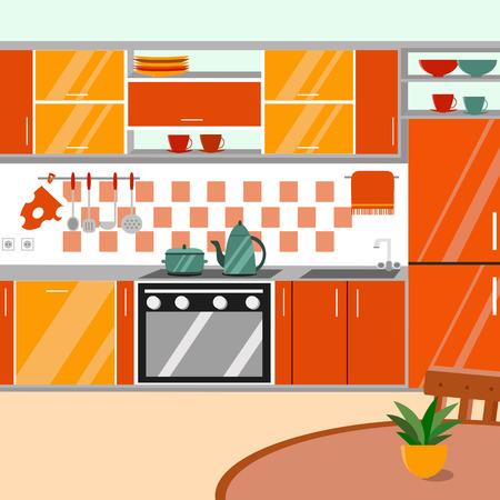 cartoon kitchen: Cocina con muebles y sombras largas. ilustración vectorial estilo de dibujos animados plana. Vectores