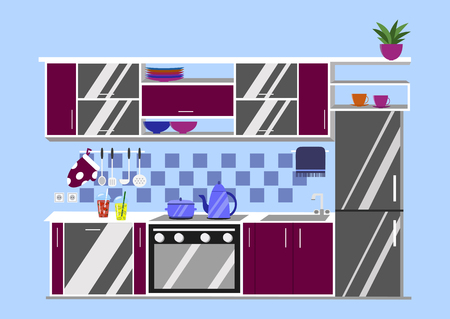 kitchen furniture: Kitchen with furniture and long shadows. Flat cartoon style vector illustration.