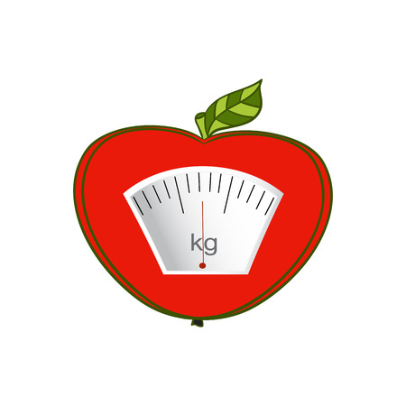 proper: The concept of weight loss, healthy lifestyles, diet, proper nutrition. Fruit and scales. Vector. Hand-painted