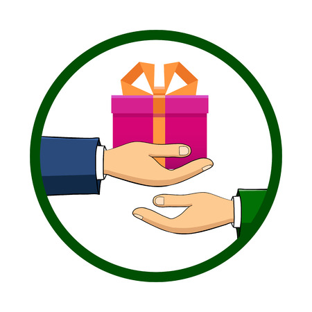 The hand that holds the box, gift, transfers it to another person. Flat style. Hand-drawn. The concept of delivery, victory, holiday, birthday, engagement, wedding. Vector