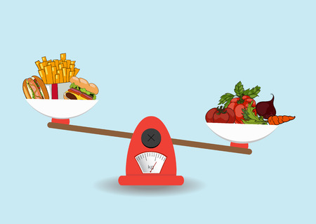 The concept of weight loss, healthy lifestyles, diet, proper nutrition. Vegetables and fast food on scales. Vector. Hand drawn Ilustrace