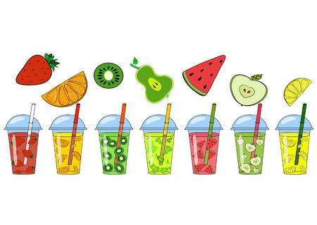 frutas divertidas: Conjunto de batidos, jugos de diferentes sabores: frutas y verduras. El concepto de un estilo de vida saludable, una nutrición adecuada, verano, diversión. El logotipo, una bandera para un café. Vector pintado a mano