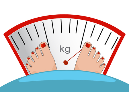 heavy weight: Concept of weight loss, healthy lifestyles, diet, proper nutrition. Fat man or woman standing on weight scale with heavy weight, vector.