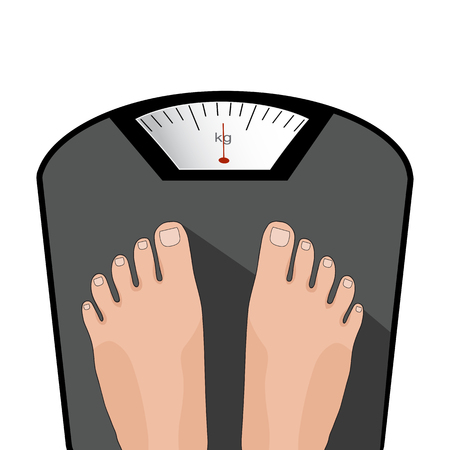 proper: Vector feet on the scale. Concept of weight loss, healthy lifestyles, diet, proper nutrition.