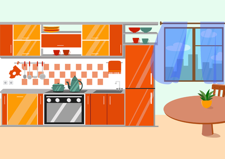 Kitchen with furniture and long shadows. Flat cartoon style vector illustration.