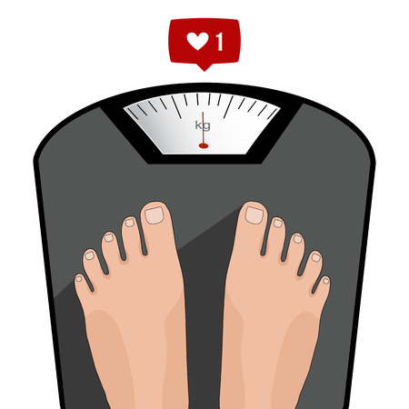 heavy weight: Fat man or woman standing on weight scale with heavy weight, vector. Concept of weight loss, healthy lifestyles, diet, proper nutrition.