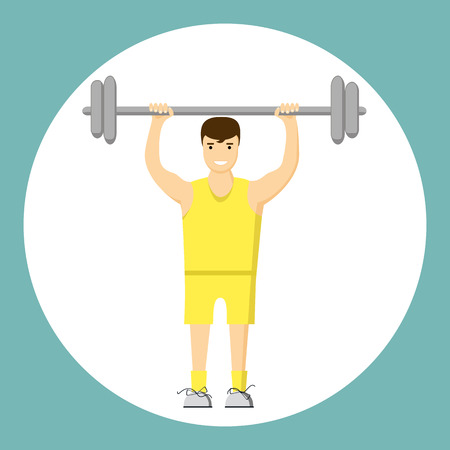 Concept slimming symbol weight loss. Silhouette of sportsman with barbell, which is engaged in sports. Vector. Flat style