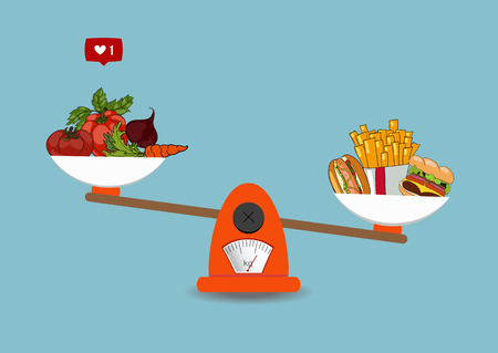 Concept of weight loss, healthy lifestyles, diet, proper nutrition. Vegetables and fast food on scales. Vector. Hand drawn