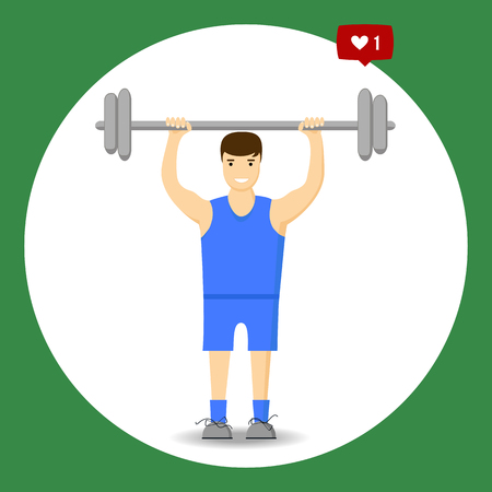slimming: Concept slimming symbol weight loss. Silhouette of sportsman with barbell, which is engaged in sports. Vector. Flat style