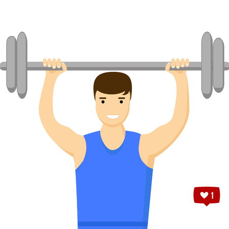 engaged: Concept slimming symbol weight loss. Silhouette of sportsman with barbell, which is engaged in sports. Vector. Flat style