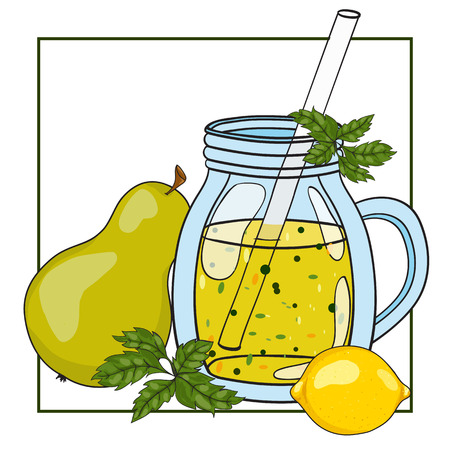fruit smoothie: Fruit smoothie in a glass. Vector hand drawn illustration. Making a healthy smoothie.