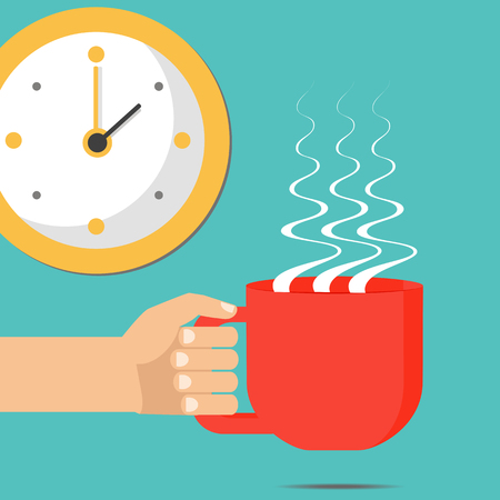 Hand holding cup of hot coffee, tea. Concept of coffee time, coffee break. Isolated vector, flat style.