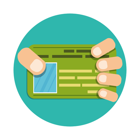 hand holding id card: Hand with credit or business card. Illustration of business concept. Vector. Flat style Illustration