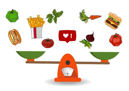 Concept van gewichtsverlies, een gezonde levensstijl, voeding, goede voeding. Groenten en fast food op schalen. Vector. Hand getekend