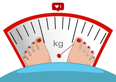 weigh machine: Fat man or woman standing on weight scale with heavy weight, vector. Concept of weight loss, healthy lifestyles, diet, proper nutrition.